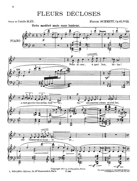 Florent Schmitt Quatre lieds Fleurs decloses score