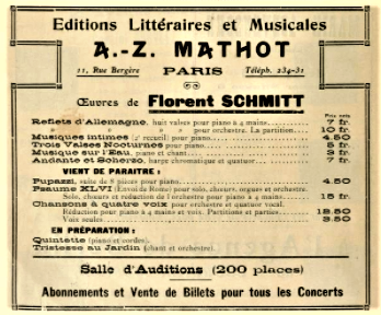 Mathot advertisement 1909 Florent Schmitt