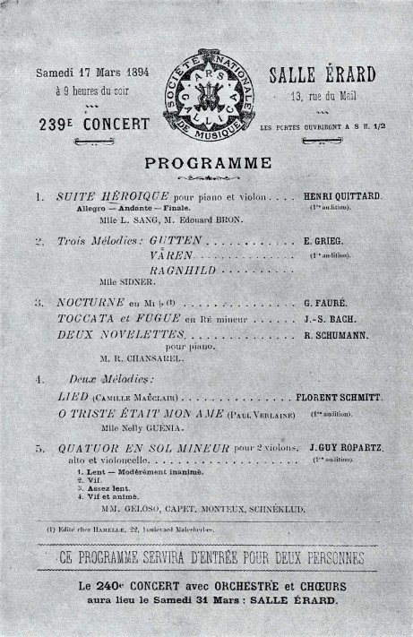 Florent Schmitt 1894 concert program